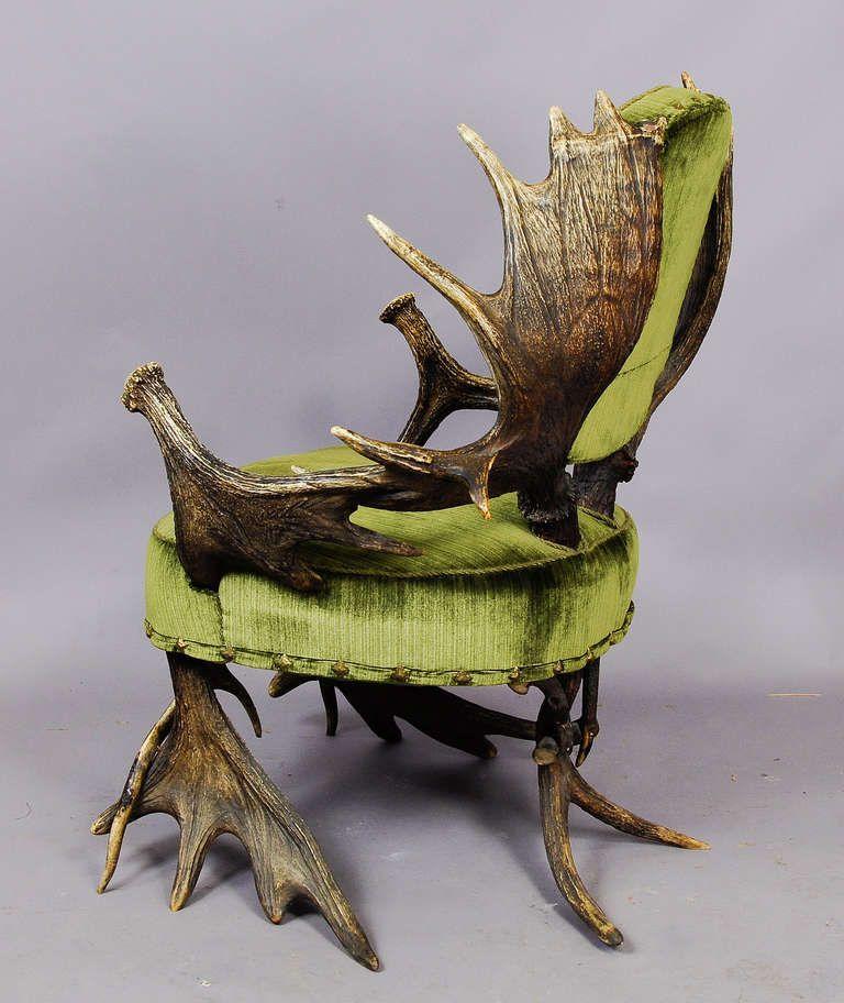 Grandiose Antique Moose Antler Chair, Austria, Circa 1880 | 1stdibs.com
