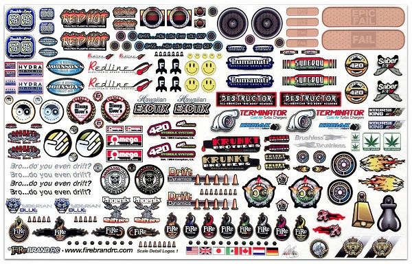 Firebrand Rc Sponsor Logos 1a Decal Sheet To Complete That Scale Look Decal Sheets Sticker Bomb Plastic Model Kits