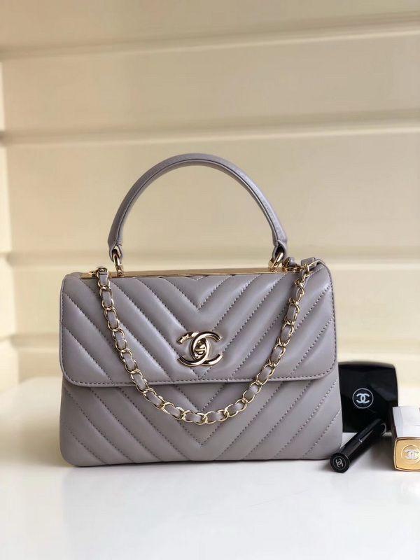 Chanel Top Handle Grey V-Shape Lambskin Small Flap Bag