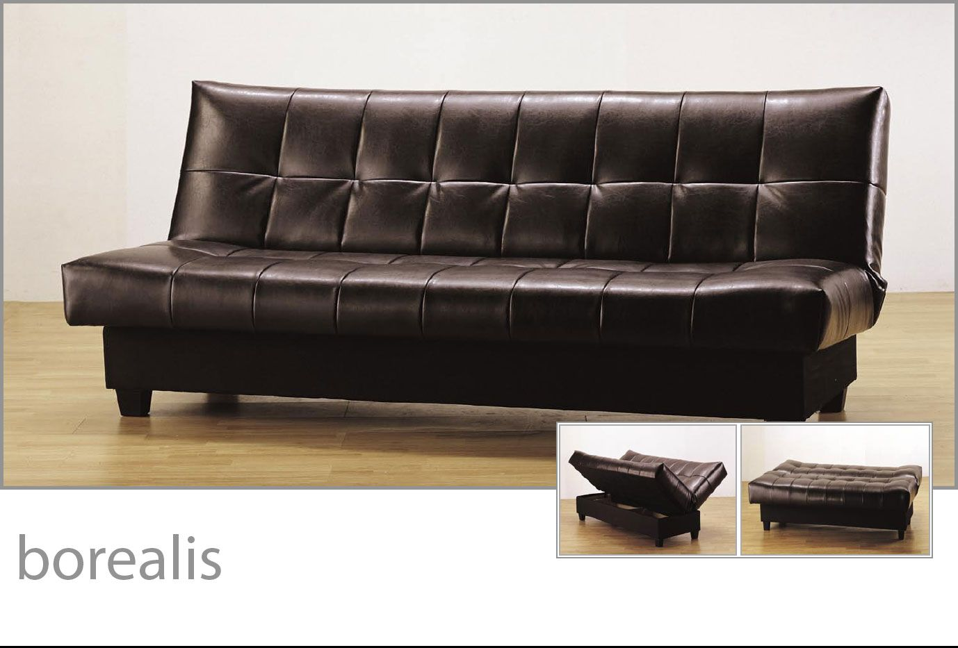 Black Faux Leather Armless Convertible Sofa Bed Coaster