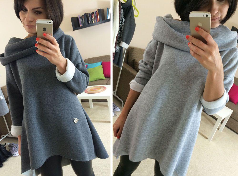 Fajna Ciepla Asymetryczna Polska Bluza Komin Polar 5656863261 Oficjalne Archiwum Allegro Fashion High Neck Dress Neck Dress