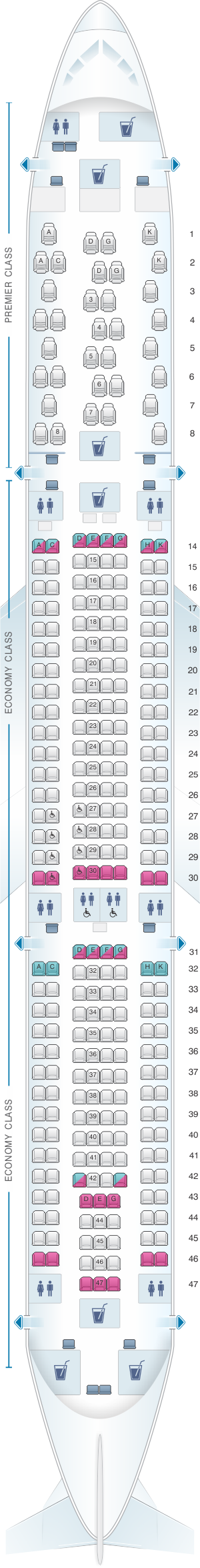Seat Map Jet Airways Airbus A330 300 293PAX Air transat