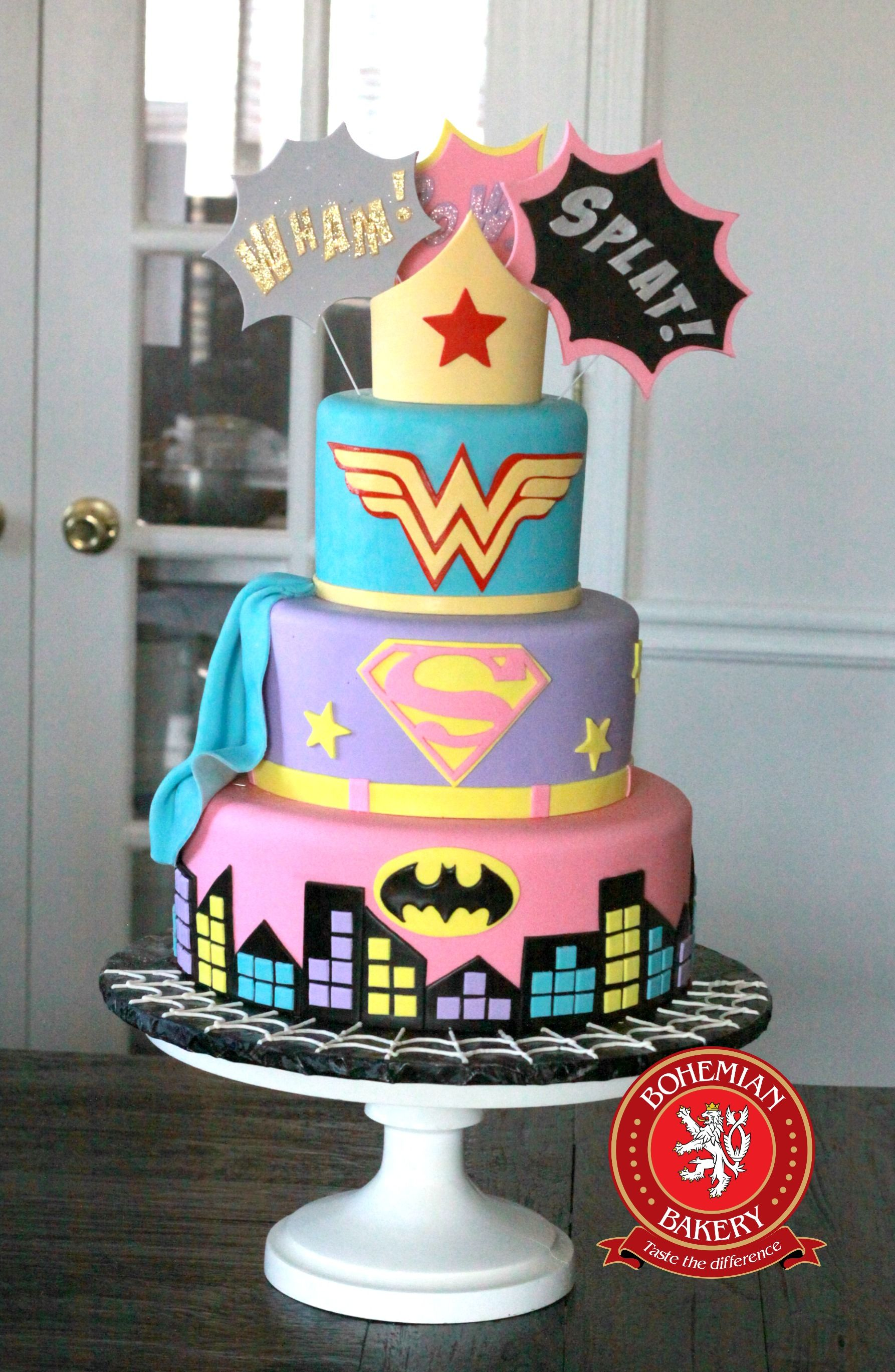 Swell Wonder Woman Super Girl And Batman Cake With Images Woman Funny Birthday Cards Online Aeocydamsfinfo