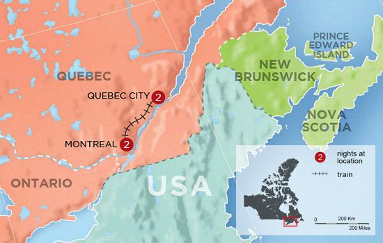 Map Of Montreal Canada To Quebec Canada See the best of the Eastern Canada by train | Quebec city, Travel