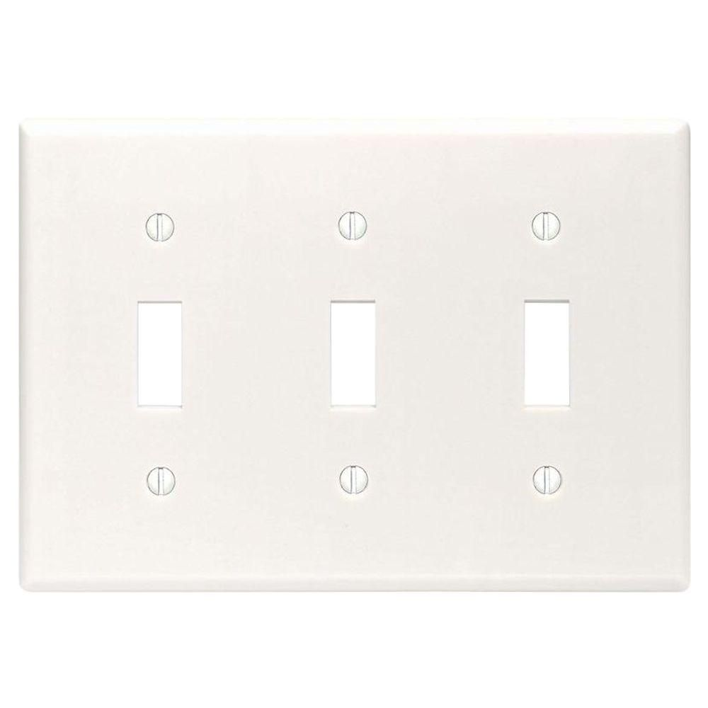 Leviton White 3 Gang Toggle Wall Plate 1 Pack R52 88011 00w The Home Depot Plates On Wall Leviton The Home Depot