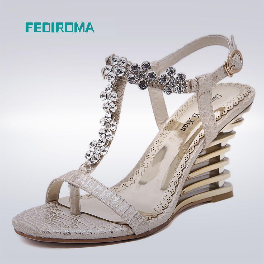 Women's sandals with bling - Fediroma Women Open Toe Sandals Rhinestone Elegant Wedge Sandal High Heels Women Shoes Fashion Buckle