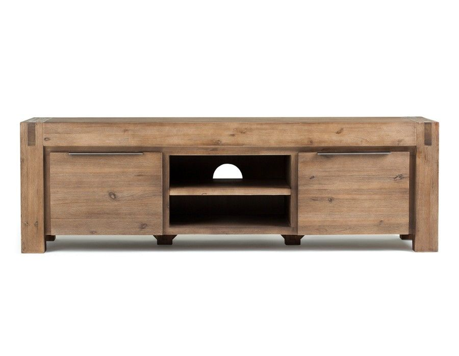Hamburg Acacia Wood Media Stand Grey Modern Furniture Living Room Wood Media Stand Furniture
