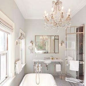 Nate Berkus Design Bathrooms Chandelier Over Tub Chandelier