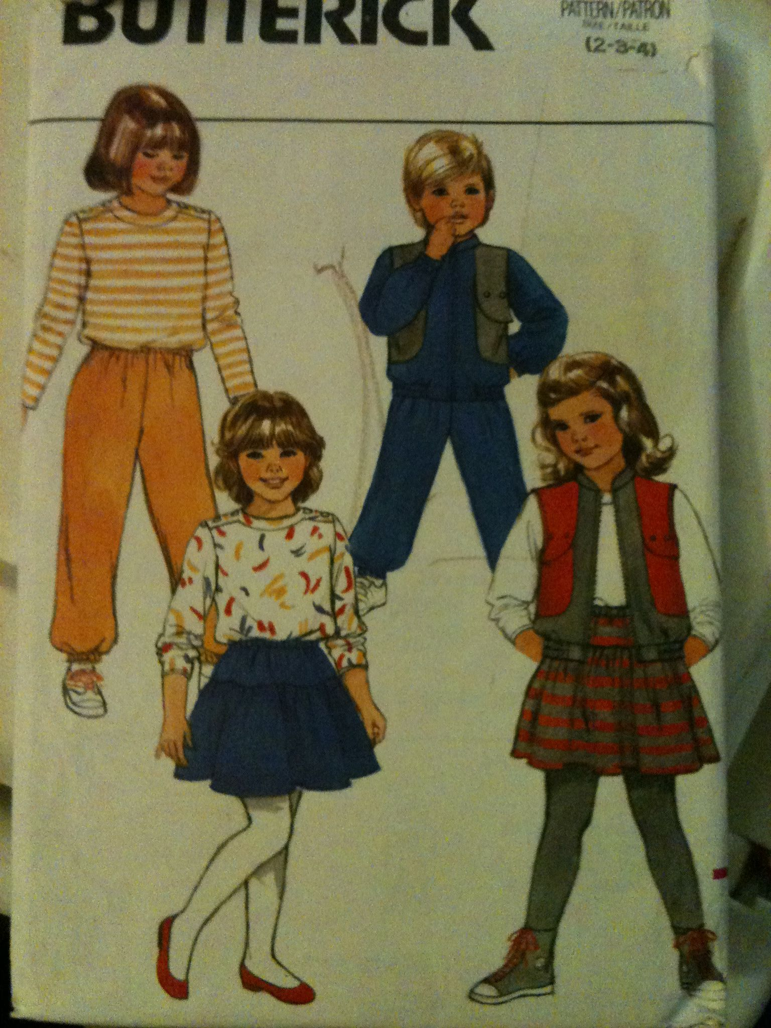 Butterick #3485. Boys' and Girls' vest top skirt and pants, size 2-4. Looks to be from the 1980's.