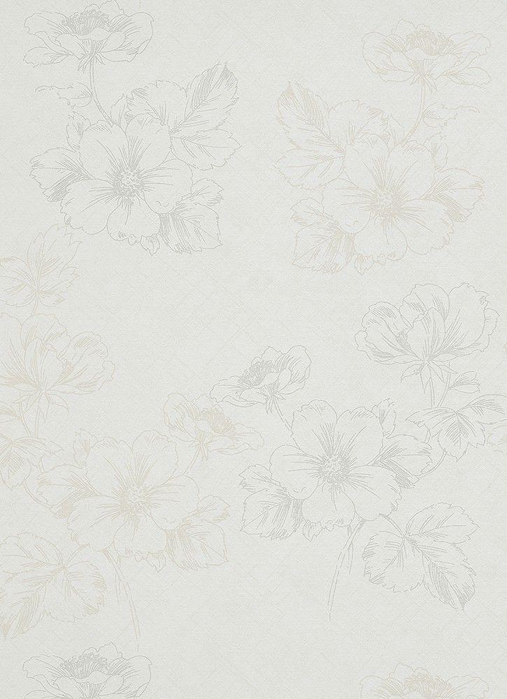 Vliestapete Blumen Creme Cremeweiß Silber Tapete Erismann Shine 6919 14  691914