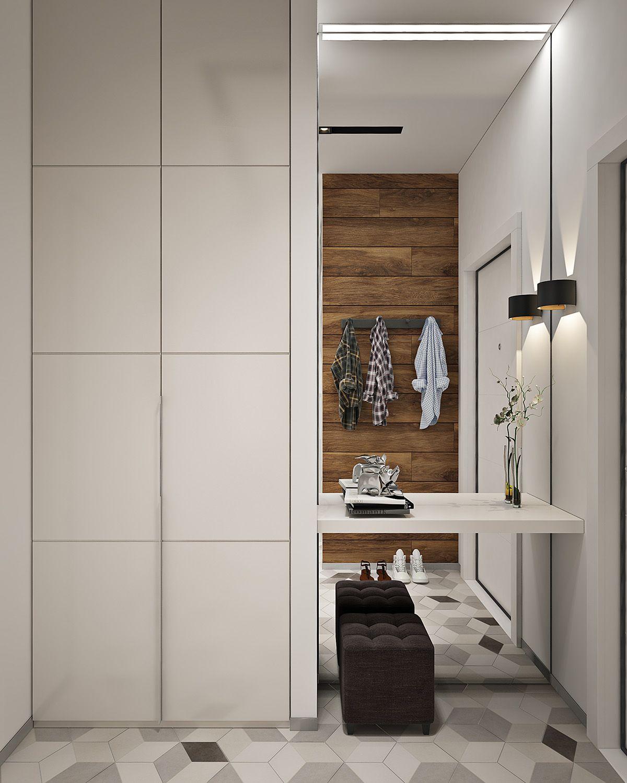 Contemporary hallway ideas  Современный дизайн интерьера для двухкомнатной квартиры в жк Фили
