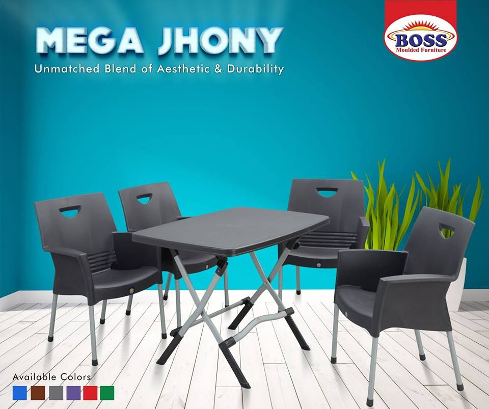 Mega Jhony Dining Patio Table Set Plastic Chair Patio Table Set Plastic Furniture