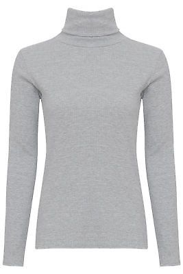 WOMENS LADIES COTTON RIBBED POLO TURTLE HIGH ROLL NECK LONG SLEEVE TOP SIZE 8-14