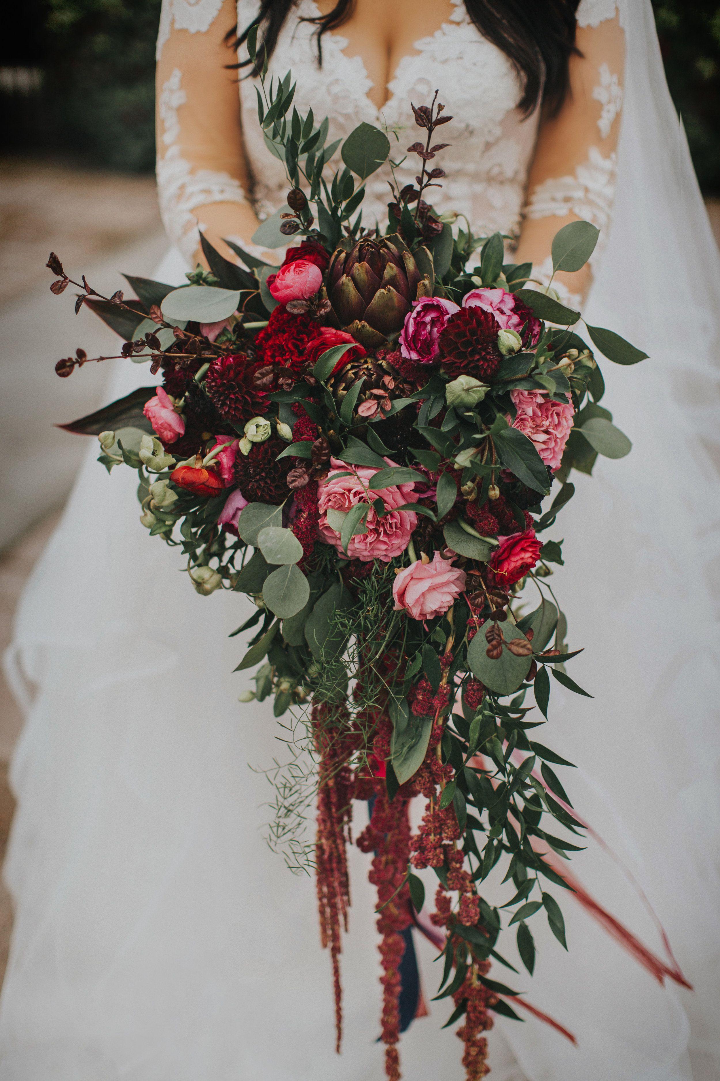 Cascading Bridal Bouquet #bridalbouquetpurple