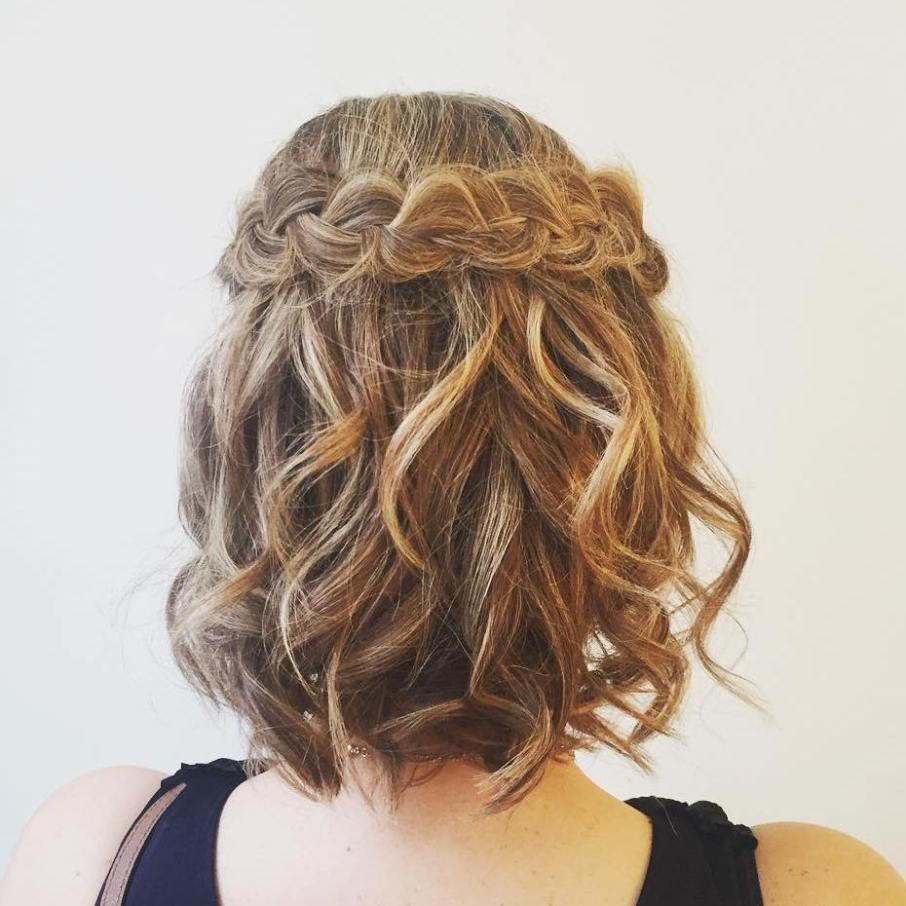 Curly Bob Hairstyle With A Braid Prom Hairstyles For Short Hair Curly Bob Hairstyles Hair Styles