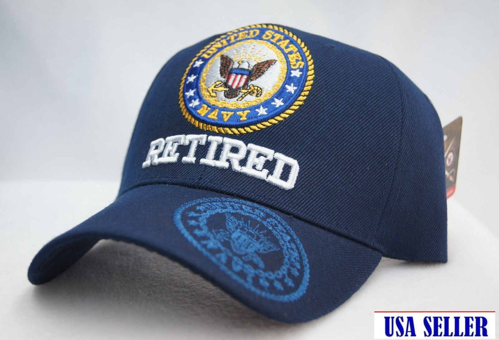 ff1ecc017d47f Licensed UNITED STATES NAVY RETIRED Cap 3D EMBROIDERY NWT NAVY BLUE COLOR