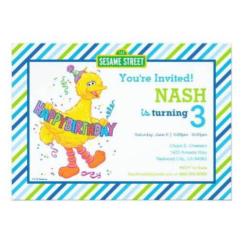 Sesame Street Birthday Big Bird Striped Birthday Card