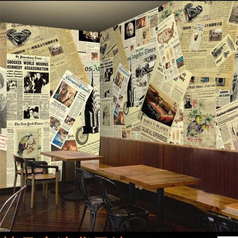 beibehang Custom Photo Mural 3d Stereo European Vintage Newspaper Background Wall Cafe Restaurant Wall paper Papel de parede  #Affiliate