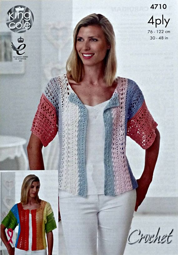 Womens Crochet Pattern C4710 Ladies Short Sleeve Lacy Multi Colour