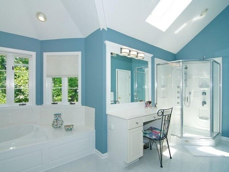Ba os decoracion y dise o para espacios modernos color - Banos en azul y blanco ...