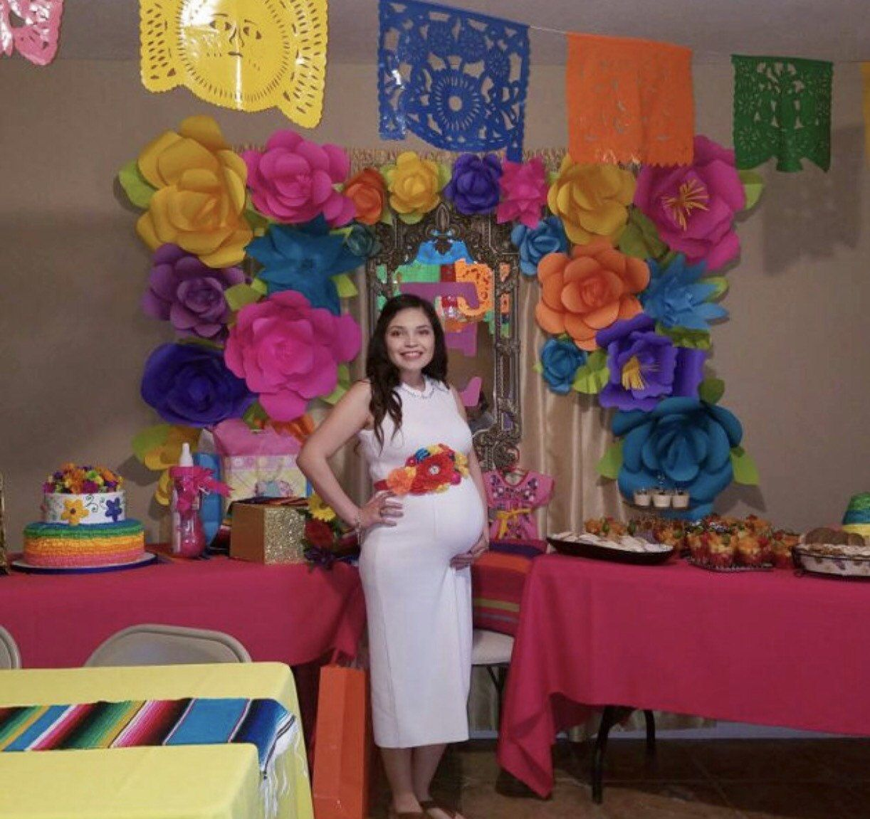 Mexican fiesta maternity sash multicolored baby shower - Fiesta baby shower ...