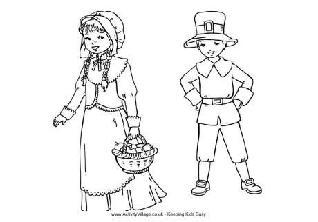 Pilgrim Children Colouring Page Coloring Pages For Kids