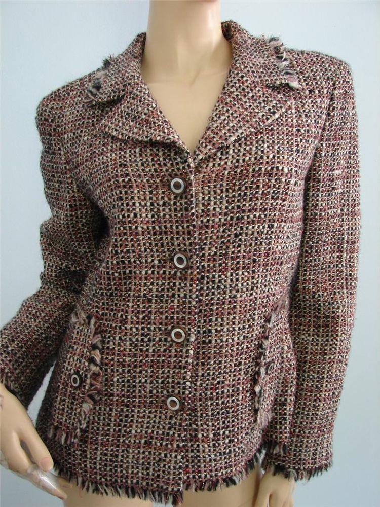 826b0e2a4 Chanel 03A Black/White/Light Tan Metallic Tweed Blazer/Jacket w ...