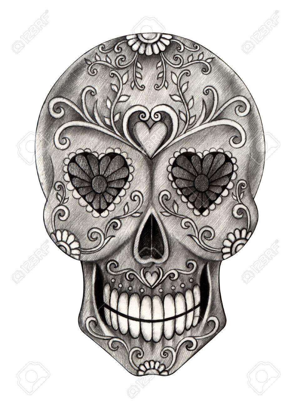 Stock Photo Skull artwork, Sugar skull artwork, Day of
