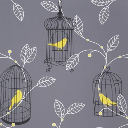 Aviary Plain Wallpaper In Grey And Yellow By Arthouse Opera Yellow Wallpaper Bird Wallpaper Plain Wallpaper