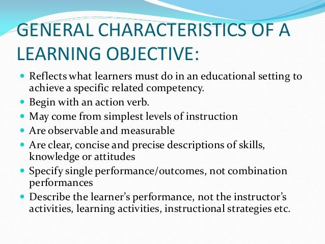 mager objectives examples objectives in the cognitive domain