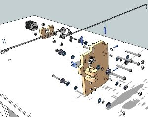 Exploded view of the Y-axis portion of the blackFoot CNC Machine