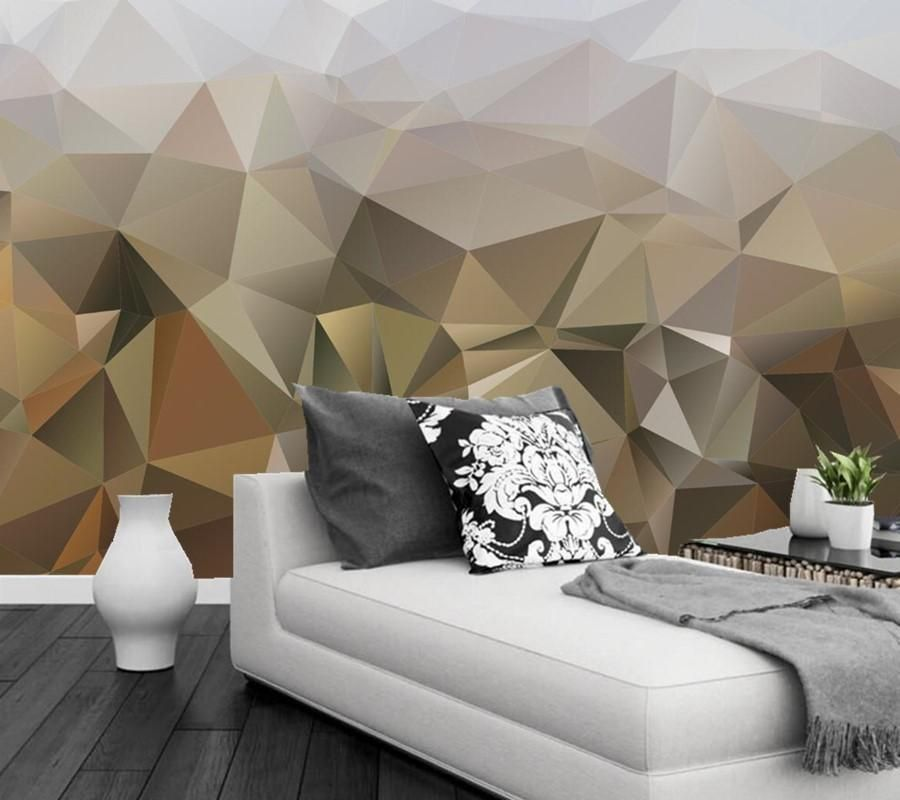 Luxurious Golden Geometric Polygon 3d Tv Backdrop Wallpaper Custom Mural Abstract Mural Painting Wallpapers A Bedroom Wall Best Living Room Wallpaper Sofa Wall Cool wallpaper for living room