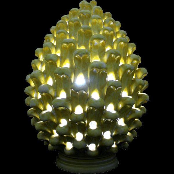 Tavoli Da Giardino Ceramica Caltagirone.Ceramic Pine Cone Light Pigna A Lume In Ceramica Di Caltagirone