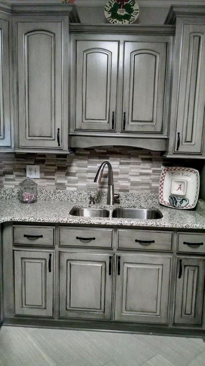 Pics Of Pictures Kitchen Cabinets Painted Two Colors And Use Polish Kitchen Cabinets Glazed Kitchen Cabinets Kitchen Cabinets Makeover Grey Kitchen Cabinets