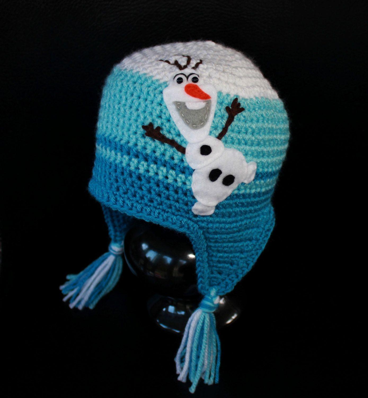 Frozen Olaf Earflap Beanie Hat - White and Blue Felt Applique Hat ...