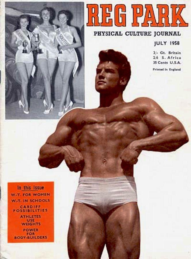STEVE REEVES 'REG PARK PHYSICAL CULTURE JOURNAL' Cover July 1958. Beefcake/bodybuilder/actor/writer (minkshmink)