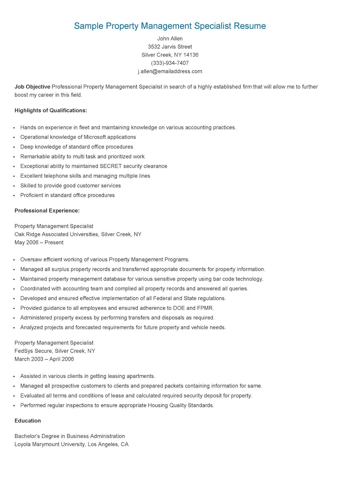 Sample Property Management Specialist Resume | resame | Pinterest ...