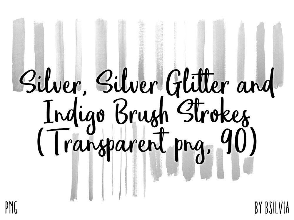 Silver Silver Glitter And Indigo Brush Strokes 90 Clip Art Etsy Brush Stroke Art Brush Strokes Clip Art