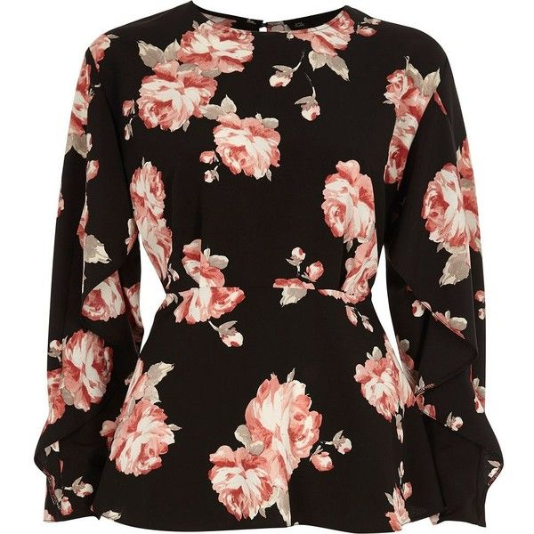 4a1df72d3f42 River Island Black floral frill sleeve blouse (€61) ❤ liked on Polyvore  featuring tops, blouses, black, women, long sleeve ruffle blouse, crepe  blouse, ...