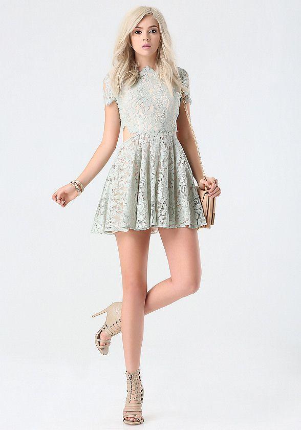 Foil Lace Cutout Dress