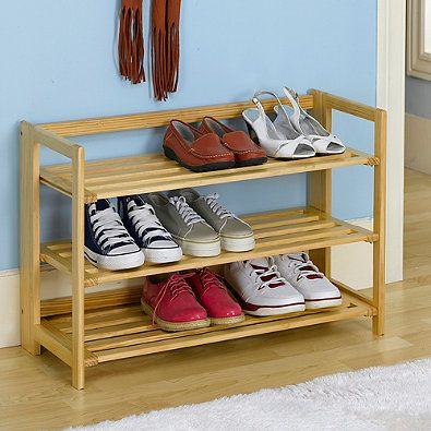 3 Tier Stackable Wooden Shoe Rack In Nautral Zapateras De