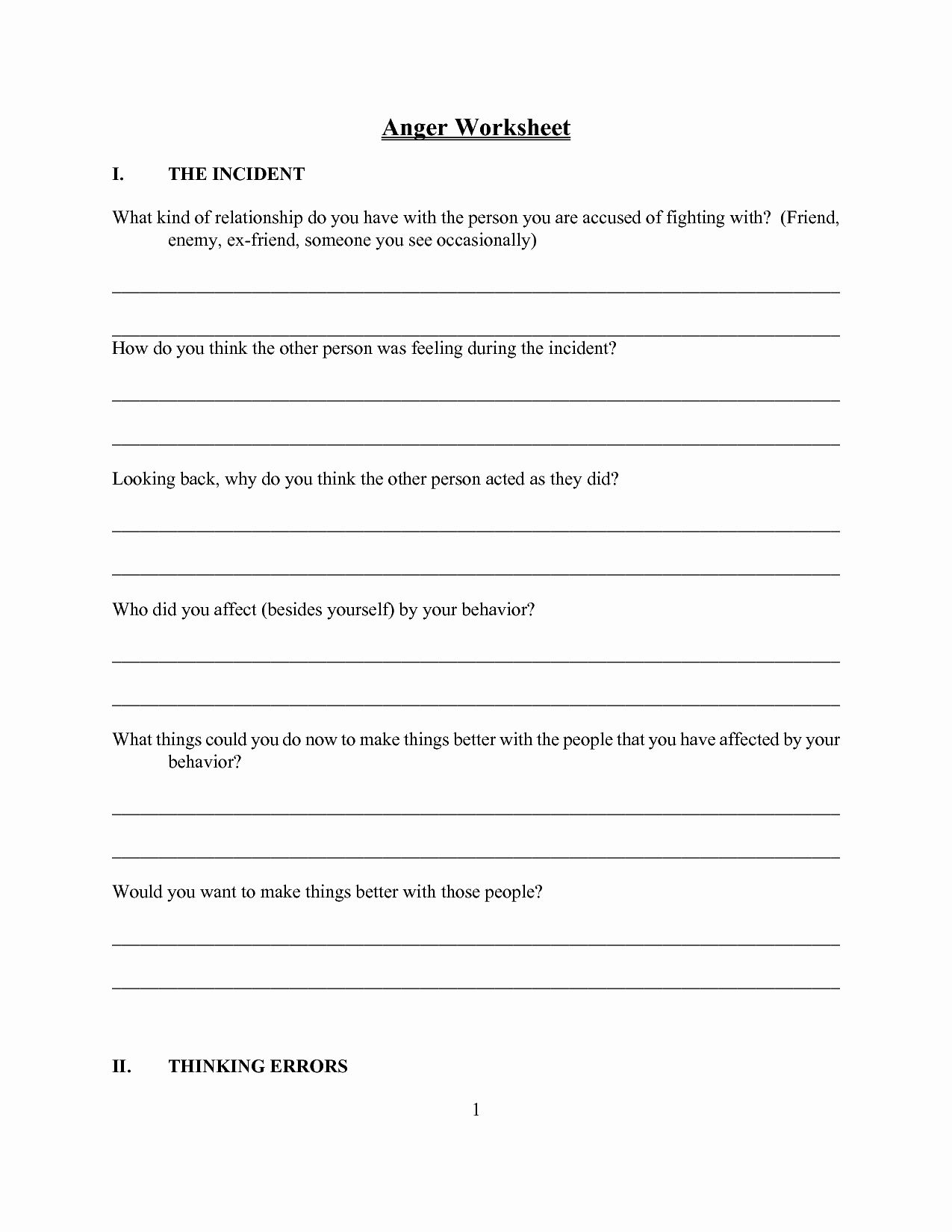 Anger Management Worksheet For Teens Luxury 10 Best Of Anger Management Worksheets Fre Anger Management Worksheets Anger Worksheets Anger Management Activities