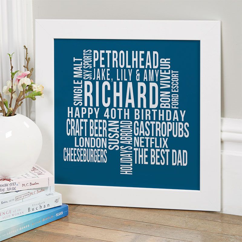 Personalised 40th Birthday Gift For Him Of Text Art (With