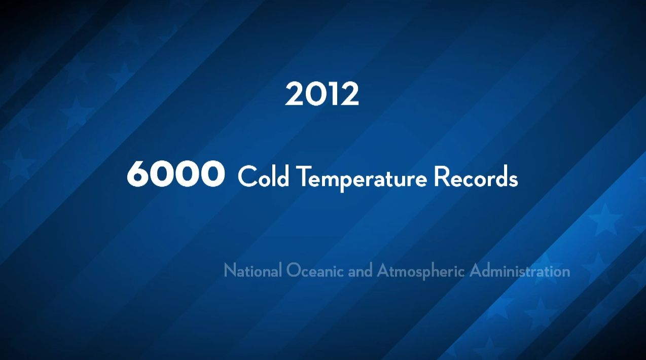 How many Cold Temperature Records were set in 2012