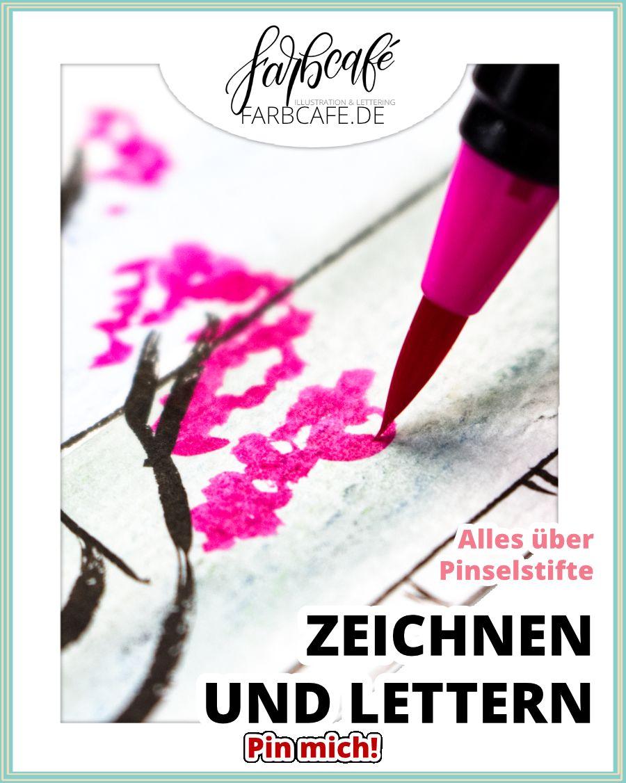 Echte Pinselstifte Schone Schrift Pinsel Und Hand Illustration