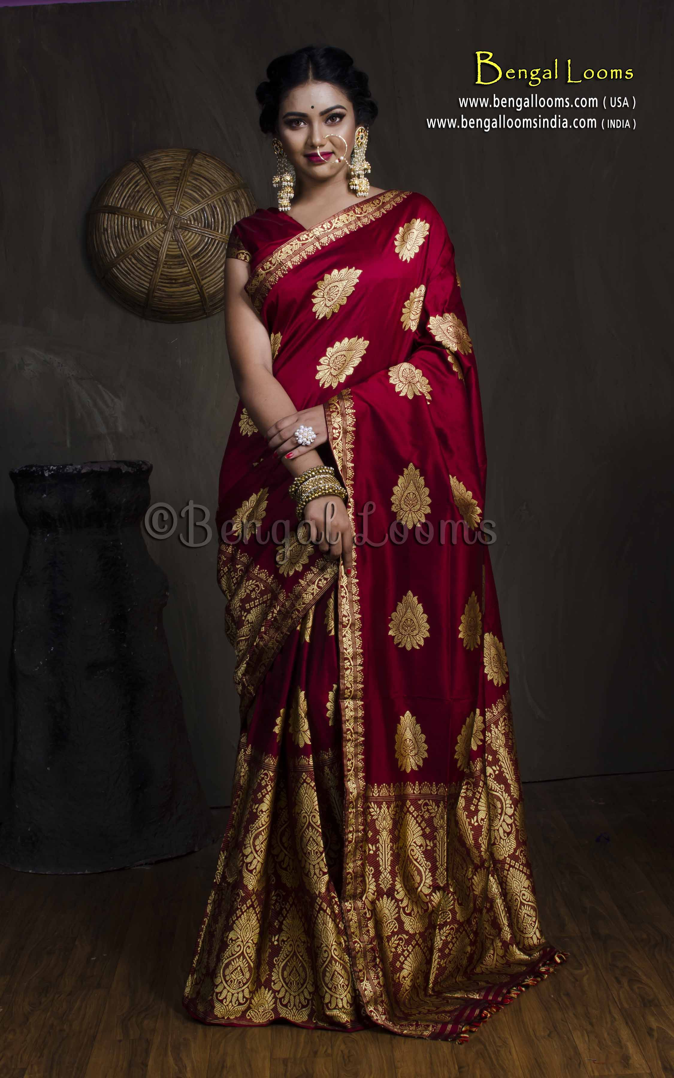 Engagement pattu saree images paat silk assamese mekhela chador in maroon and gold  home decor in