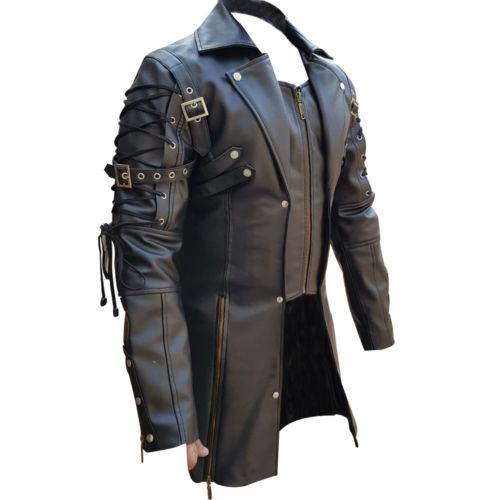 9fc4c83eeb5 Men REAL Black Brown Red White Leather Goth Matrix Trench Coat Steampunk  Gothic