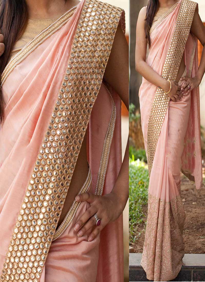 0edbb99e8c8cf2 Peach Mirror Work Thread Work Georgette Banarasi Party Wear Half Sarees