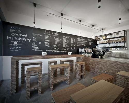 flat stone furniture with modern cafe layout - Modern Cafe Ideas