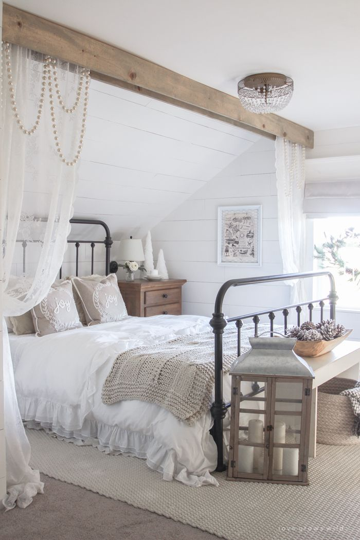 White and Cream Christmas Bedroom Master bedroom, Neutral and Cozy